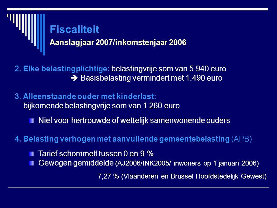 Fiscaliteit 2. Elke belastingplichtige: belastingvrije som van 5.940 euro  Basisbelasting vermindert met 1.490 euro 3. Alleenstaande ouder met kinder