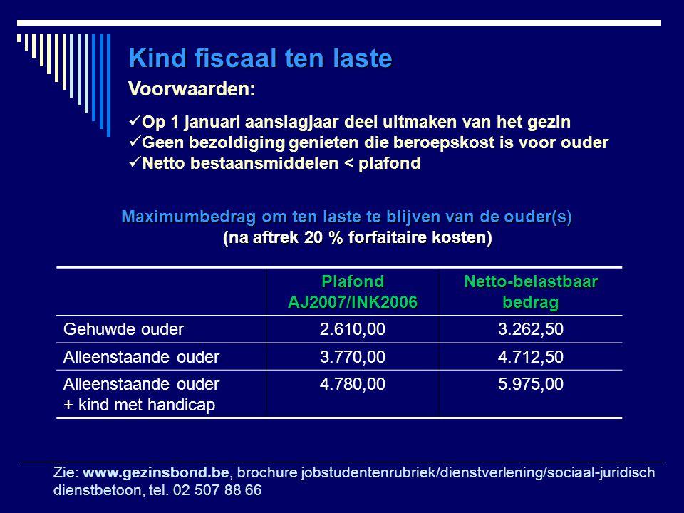 Maximumbedrag om ten laste te blijven van de ouder(s) (na aftrek 20 % forfaitaire kosten) (na aftrek 20 % forfaitaire kosten) Plafond AJ2007/INK2006 N