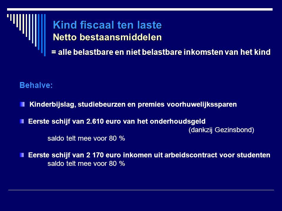 Kind fiscaal ten laste Netto bestaansmiddelen Behalve: Kinderbijslag, studiebeurzen en premies voorhuwelijkssparen Eerste schijf van 2.610 euro van he