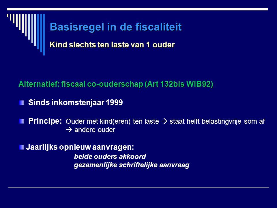 Basisregel in de fiscaliteit Kind slechts ten laste van 1 ouder Alternatief: fiscaal co-ouderschap (Art 132bis WIB92) Sinds inkomstenjaar 1999 Princip