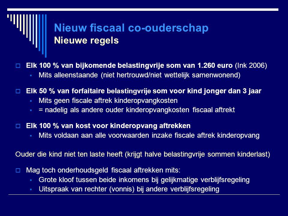 Nieuw fiscaal co-ouderschap Nieuwe regels  Elk 100 % van bijkomende belastingvrije som van 1.260 euro (Ink 2006)  Mits alleenstaande (niet hertrouwd