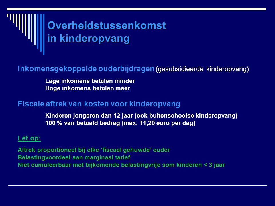 Overheidstussenkomst in kinderopvang Inkomensgekoppelde ouderbijdragen (gesubsidieerde kinderopvang) Lage inkomens betalen minder Hoge inkomens betale