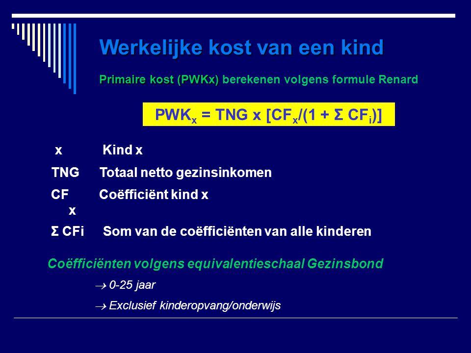 Primaire kost (PWKx) Primaire kost (PWKx) berekenen volgens formule Renard Som van de coëfficiënten van alle kinderenΣ CFi Coëfficiënt kind xCF x Tota