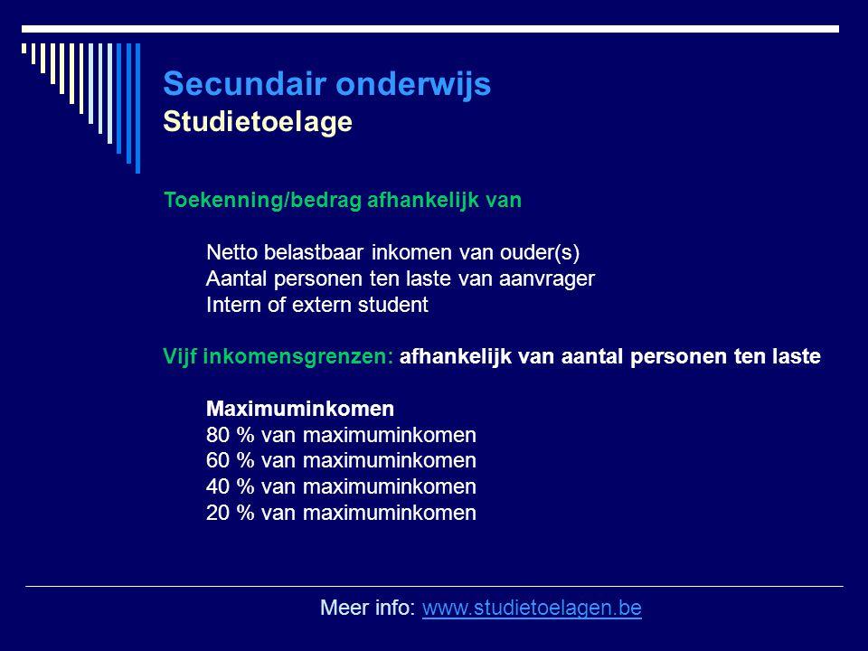 Secundair onderwijs Studietoelage Toekenning/bedrag afhankelijk van Netto belastbaar inkomen van ouder(s) Aantal personen ten laste van aanvrager Inte