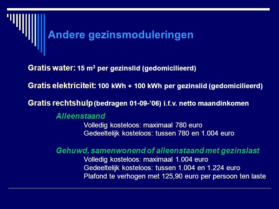 Andere gezinsmoduleringen Gratis water: 15 m 3 per gezinslid (gedomicilieerd) Gratis elektriciteit: 100 kWh + 100 kWh per gezinslid (gedomicilieerd) G