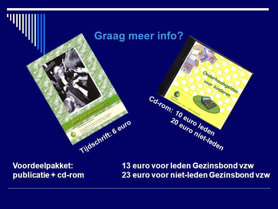 Graag meer info? Cd-rom:10 euro leden 20 euro niet-leden Tijdschrift: 6 euro Voordeelpakket: 13 euro voor leden Gezinsbond vzw publicatie + cd-rom23 e