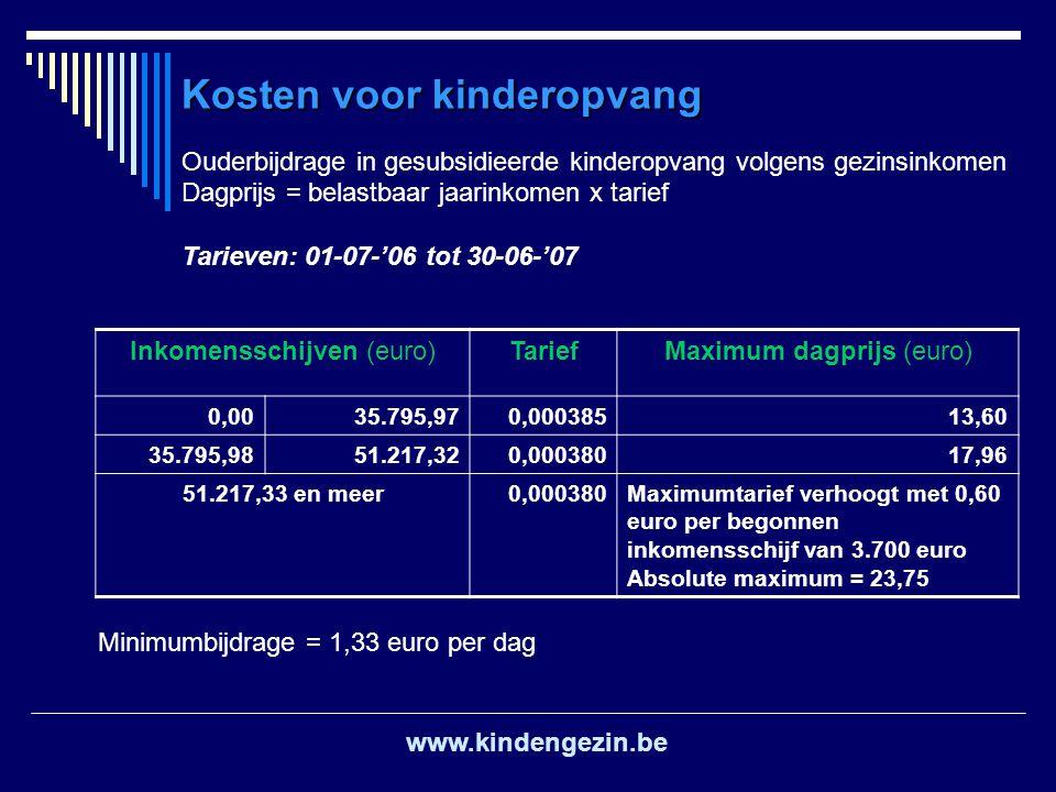 Ouderbijdrage in gesubsidieerde kinderopvang volgens gezinsinkomen Dagprijs = belastbaar jaarinkomen x tarief Tarieven: 01-07-'06 tot 30-06-'07 Inkome