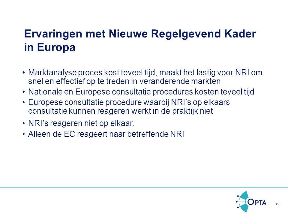 15 Ervaringen met Nieuwe Regelgevend Kader in Europa Marktanalyse proces kost teveel tijd, maakt het lastig voor NRI om snel en effectief op te treden