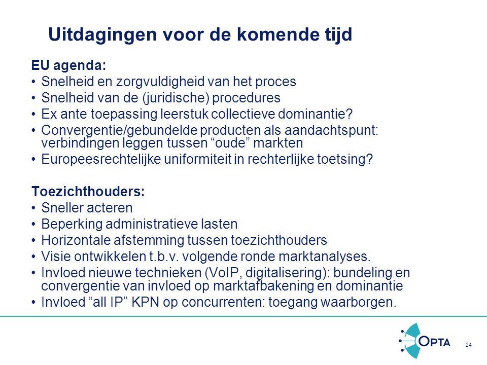 24 Uitdagingen voor de komende tijd EU agenda: Snelheid en zorgvuldigheid van het proces Snelheid van de (juridische) procedures Ex ante toepassing le