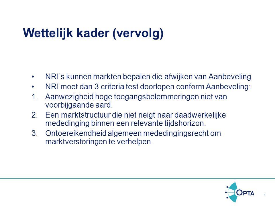 4 Wettelijk kader (vervolg) NRI's kunnen markten bepalen die afwijken van Aanbeveling. NRI moet dan 3 criteria test doorlopen conform Aanbeveling: 1.A