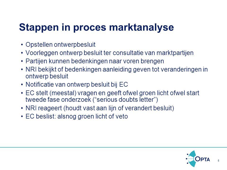 5 Stappen in proces marktanalyse Opstellen ontwerpbesluit Voorleggen ontwerp besluit ter consultatie van marktpartijen Partijen kunnen bedenkingen naa