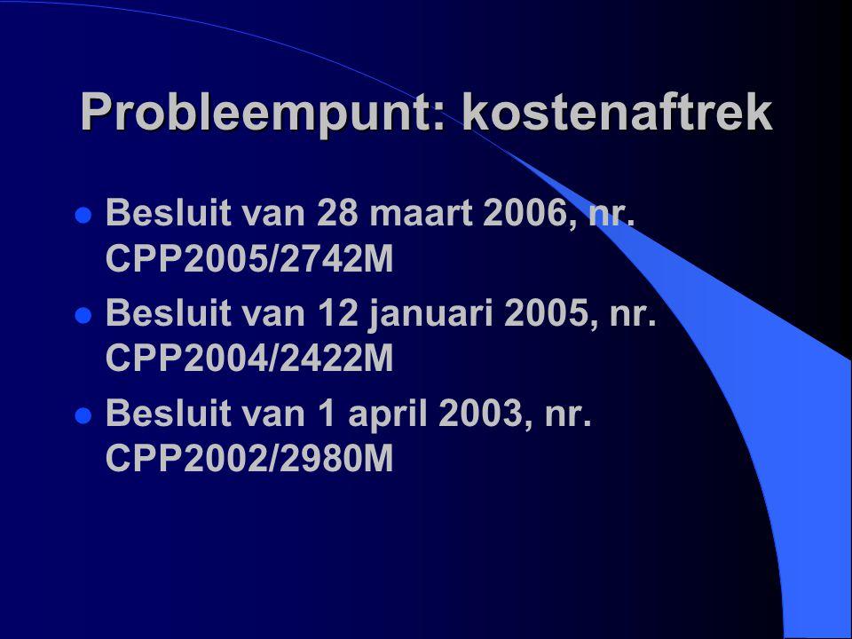 Probleempunt: kostenaftrek l Besluit van 28 maart 2006, nr. CPP2005/2742M l Besluit van 12 januari 2005, nr. CPP2004/2422M l Besluit van 1 april 2003,