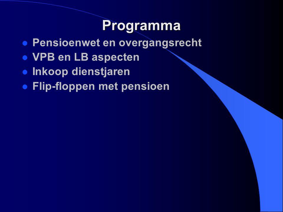 Van PSW naar PW l PSW stamt uit 1954 l Grondgedachte blijft hetzelfde –beschermen werknemerspensioen l Wel veel nieuwe termen