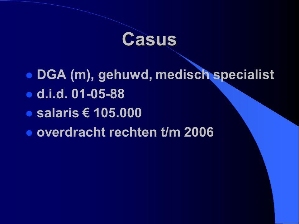 Casus l DGA (m), gehuwd, medisch specialist l d.i.d. 01-05-88 l salaris € 105.000 l overdracht rechten t/m 2006