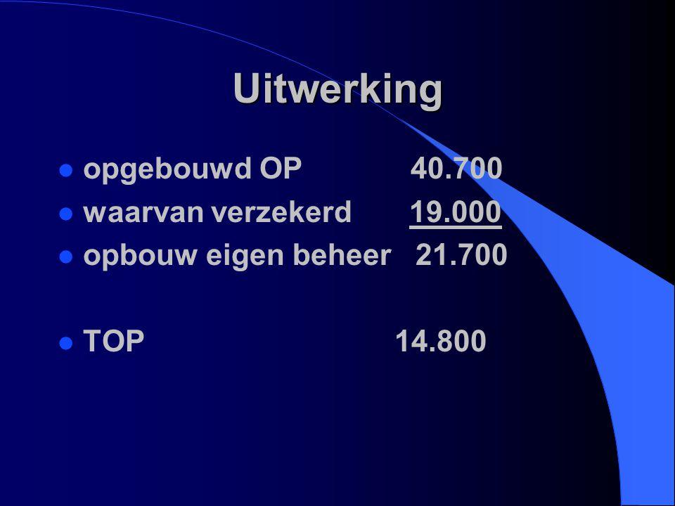 Uitwerking l opgebouwd OP 40.700 l waarvan verzekerd 19.000 l opbouw eigen beheer 21.700 l TOP 14.800