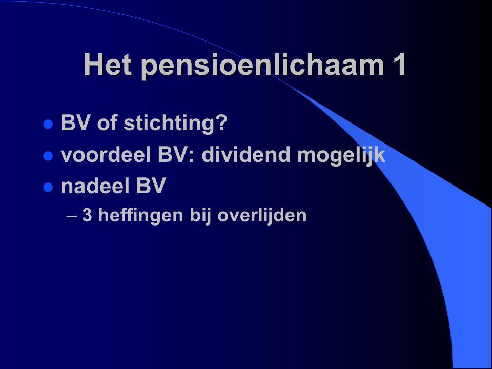 Het pensioenlichaam 1 l BV of stichting? l voordeel BV: dividend mogelijk l nadeel BV –3 heffingen bij overlijden