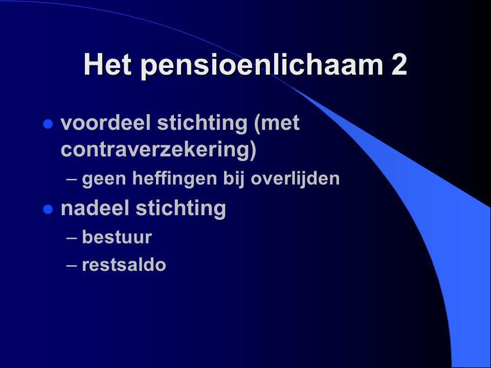 Het pensioenlichaam 2 l voordeel stichting (met contraverzekering) –geen heffingen bij overlijden l nadeel stichting –bestuur –restsaldo