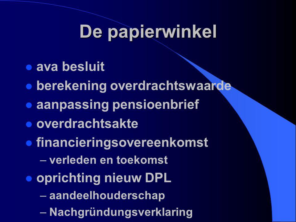 De papierwinkel l ava besluit l berekening overdrachtswaarde l aanpassing pensioenbrief l overdrachtsakte l financieringsovereenkomst –verleden en toe