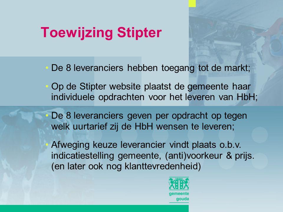 De 8 leveranciers hebben toegang tot de markt; Op de Stipter website plaatst de gemeente haar individuele opdrachten voor het leveren van HbH; De 8 leveranciers geven per opdracht op tegen welk uurtarief zij de HbH wensen te leveren; Afweging keuze leverancier vindt plaats o.b.v.