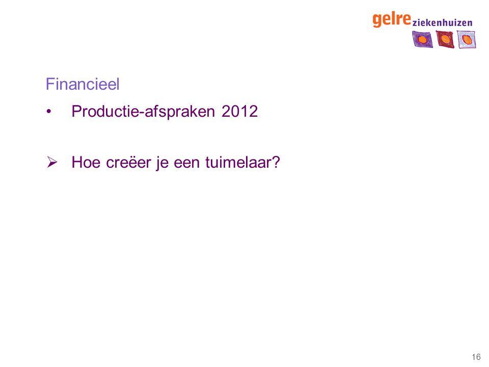 16 Financieel Productie-afspraken 2012  Hoe creëer je een tuimelaar?