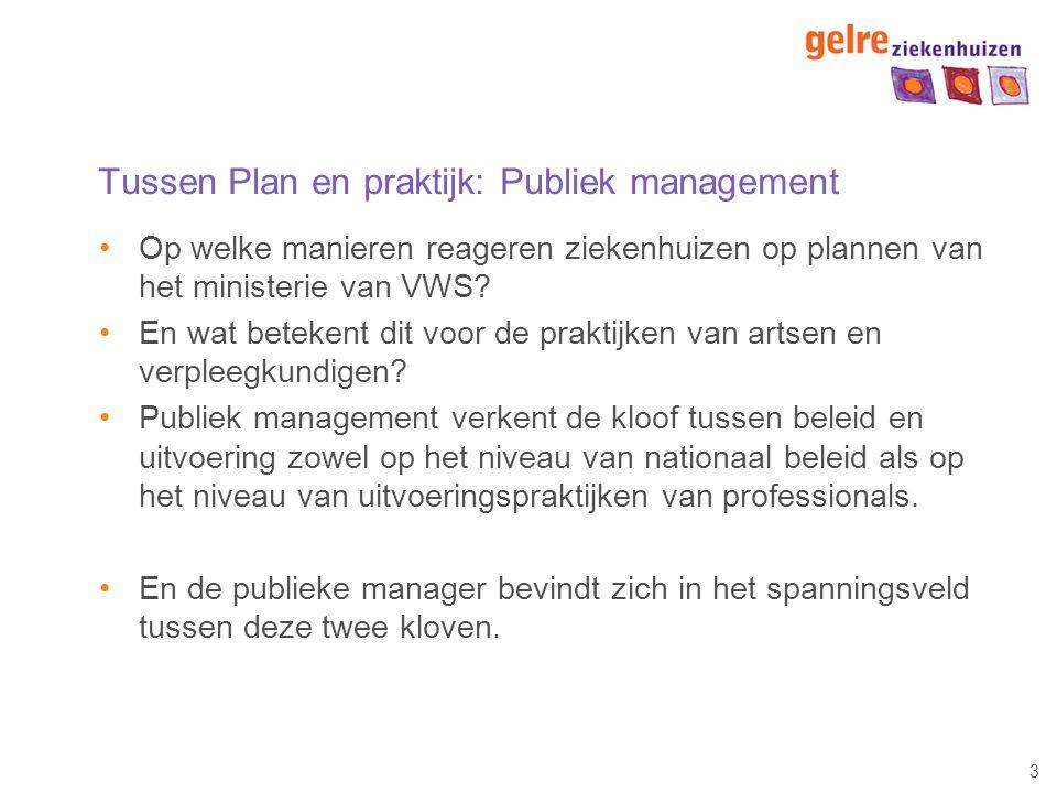 3 Tussen Plan en praktijk: Publiek management Op welke manieren reageren ziekenhuizen op plannen van het ministerie van VWS? En wat betekent dit voor