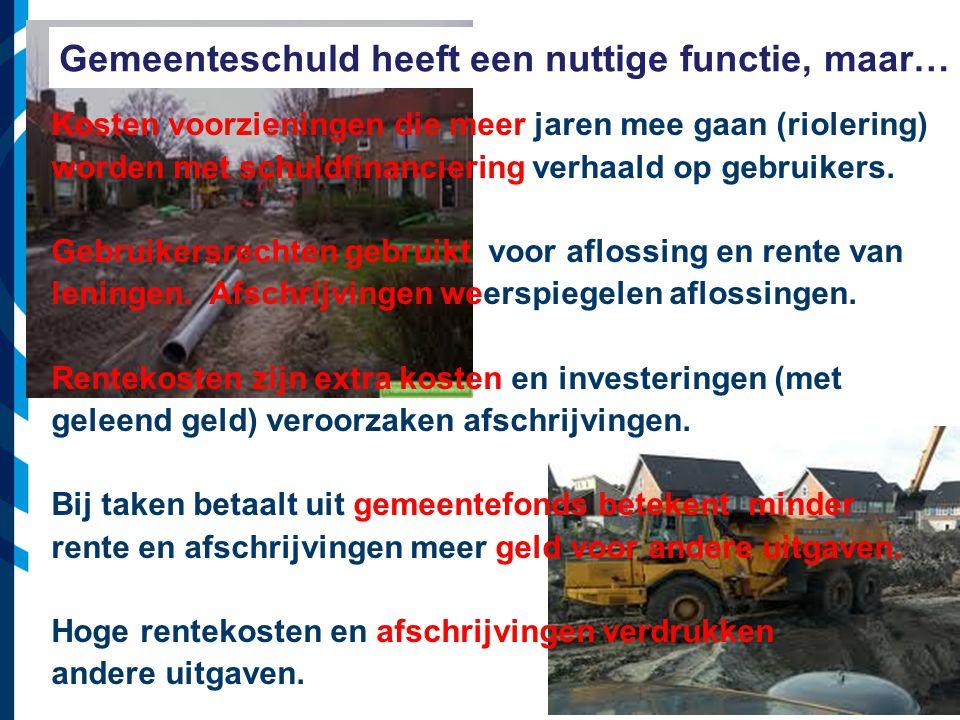Vereniging van Nederlandse Gemeenten Gemeenteschuld heeft een nuttige functie, maar… Kosten voorzieningen die meer jaren mee gaan (riolering) worden met schuldfinanciering verhaald op gebruikers.
