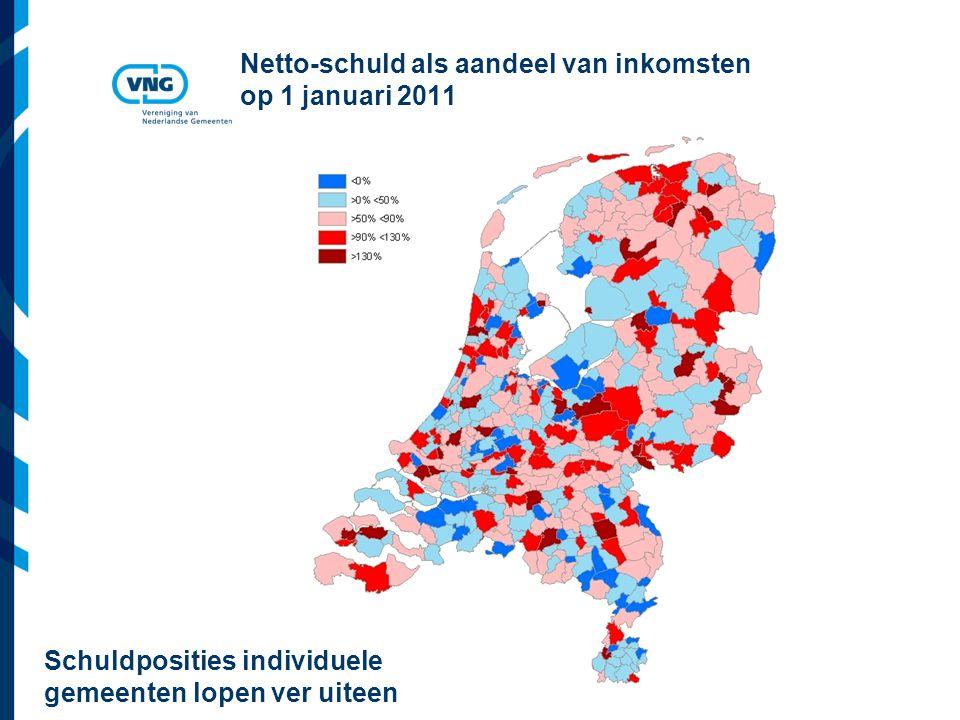 Vereniging van Nederlandse Gemeenten Netto-schuld als aandeel van inkomsten op 1 januari 2011 Schuldposities individuele gemeenten lopen ver uiteen