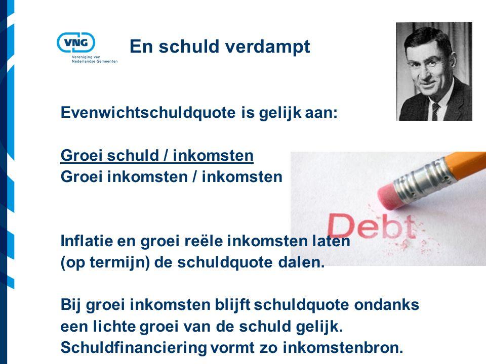 Vereniging van Nederlandse Gemeenten En schuld verdampt Evenwichtschuldquote is gelijk aan: Groei schuld / inkomsten Groei inkomsten / inkomsten Inflatie en groei reële inkomsten laten (op termijn) de schuldquote dalen.