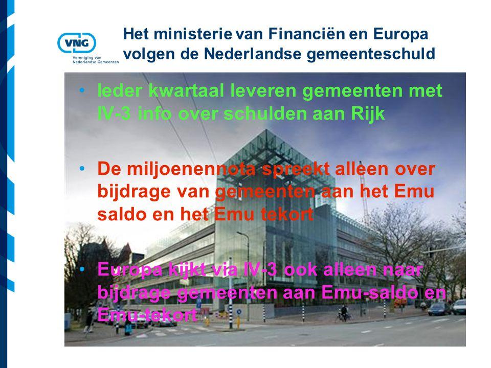 Vereniging van Nederlandse Gemeenten Het ministerie van Financiën en Europa volgen de Nederlandse gemeenteschuld Ieder kwartaal leveren gemeenten met IV-3 info over schulden aan Rijk De miljoenennota spreekt alleen over bijdrage van gemeenten aan het Emu saldo en het Emu tekort Europa kijkt via IV-3 ook alleen naar bijdrage gemeenten aan Emu-saldo en Emu-tekort