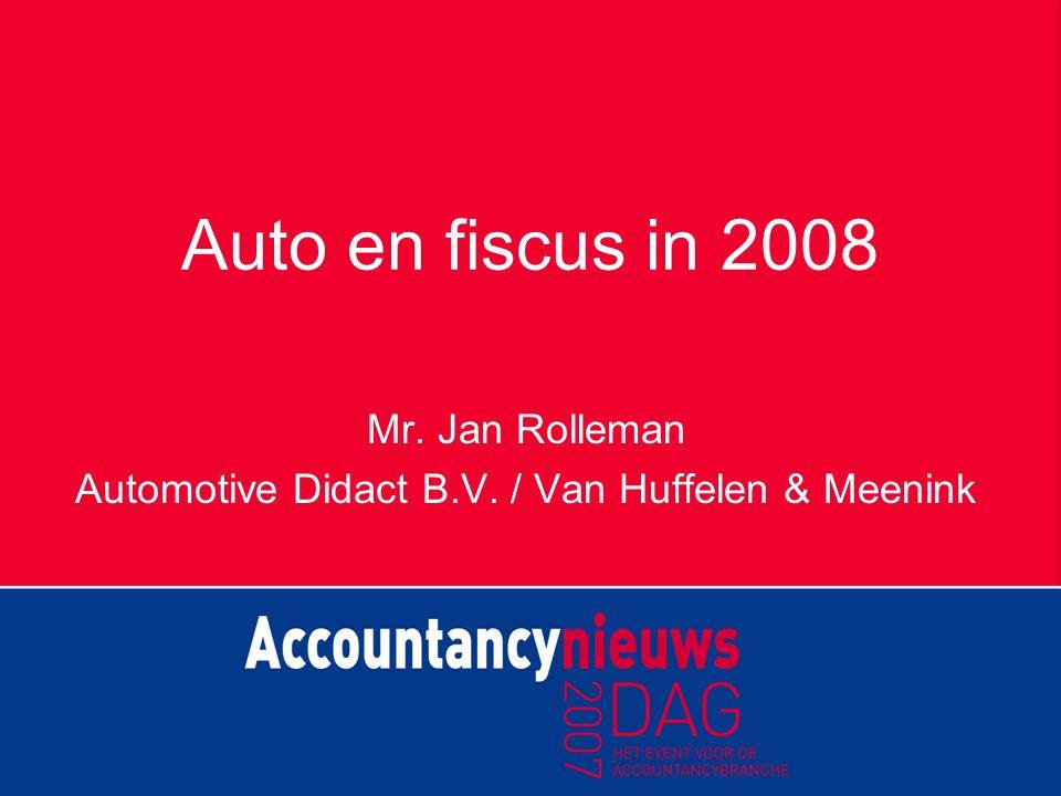Belastingplan 2008 Beoogde meeropbrengst 'autobelastingen': € 500.000.000 per jaar Daarvan verhoging bijtelling: € 150.000.000 per jaar