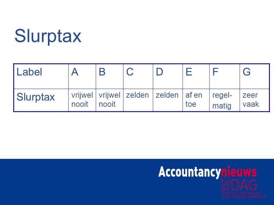 Slurptax LabelABCDEFG Slurptax vrijwel nooit zelden af en toe regel- matig zeer vaak