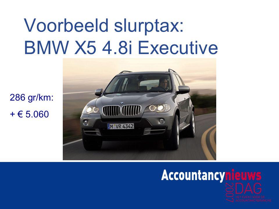 Voorbeeld slurptax: BMW X5 4.8i Executive 286 gr/km: + € 5.060