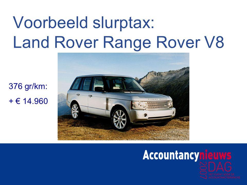 Voorbeeld slurptax: Land Rover Range Rover V8 376 gr/km: + € 14.960