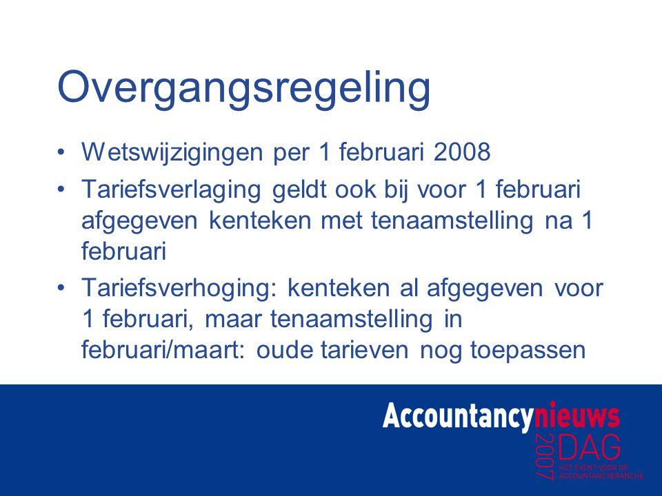 Overgangsregeling Wetswijzigingen per 1 februari 2008 Tariefsverlaging geldt ook bij voor 1 februari afgegeven kenteken met tenaamstelling na 1 februa