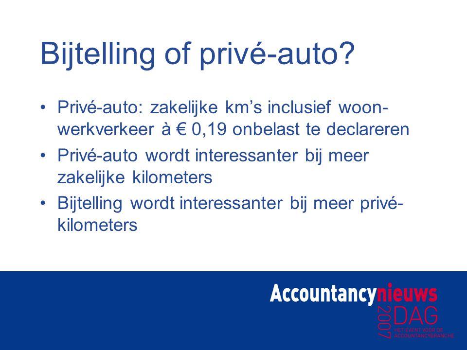 Bijtelling of privé-auto? Privé-auto: zakelijke km's inclusief woon- werkverkeer à € 0,19 onbelast te declareren Privé-auto wordt interessanter bij me