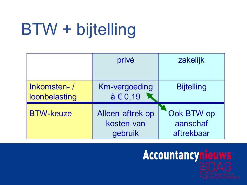 BTW + bijtelling privézakelijk Inkomsten- / loonbelasting Km-vergoeding à € 0,19 Bijtelling BTW-keuzeAlleen aftrek op kosten van gebruik Ook BTW op aa