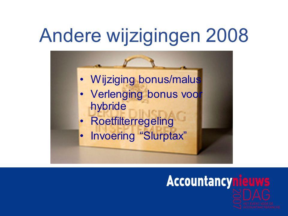 """Andere wijzigingen 2008 Wijziging bonus/malus Verlenging bonus voor hybride Roetfilterregeling Invoering """"Slurptax"""""""