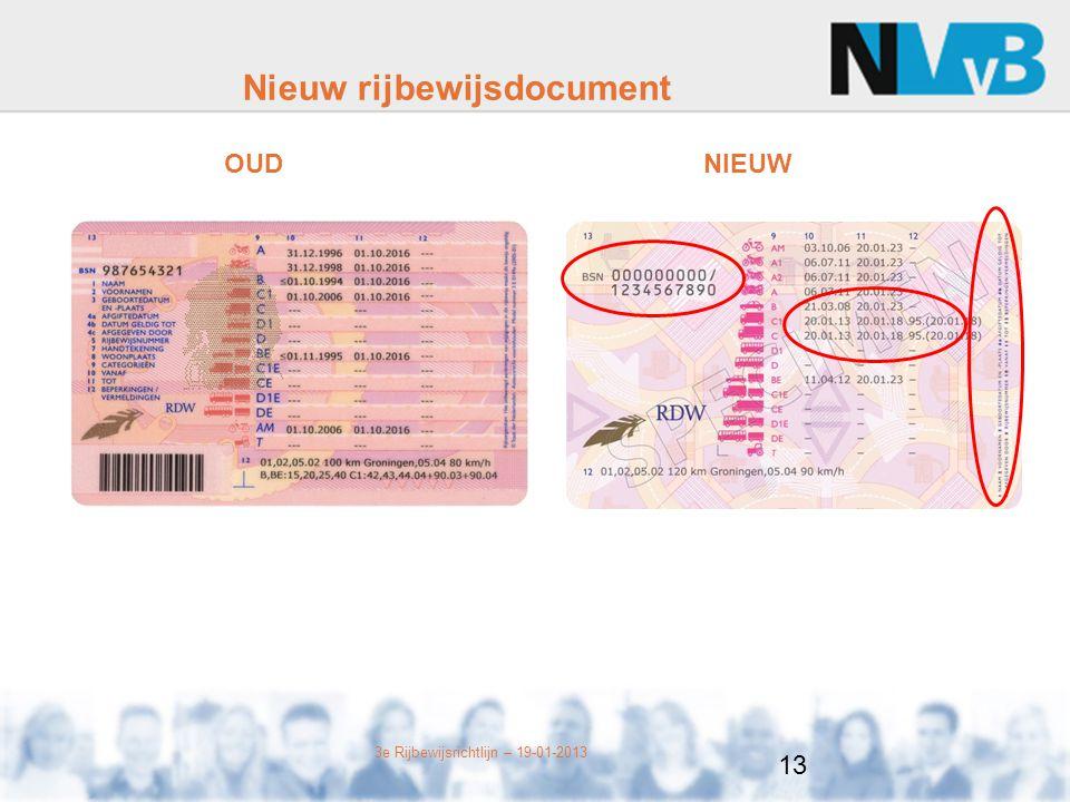 3e Rijbewijsrichtlijn – 19-01-2013 Nieuw rijbewijsdocument OUDNIEUW 13