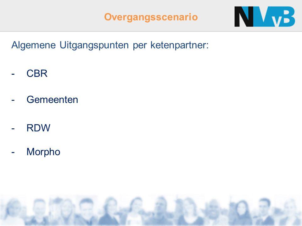 Overgangsscenario Algemene Uitgangspunten per ketenpartner: -CBR -Gemeenten -RDW -Morpho