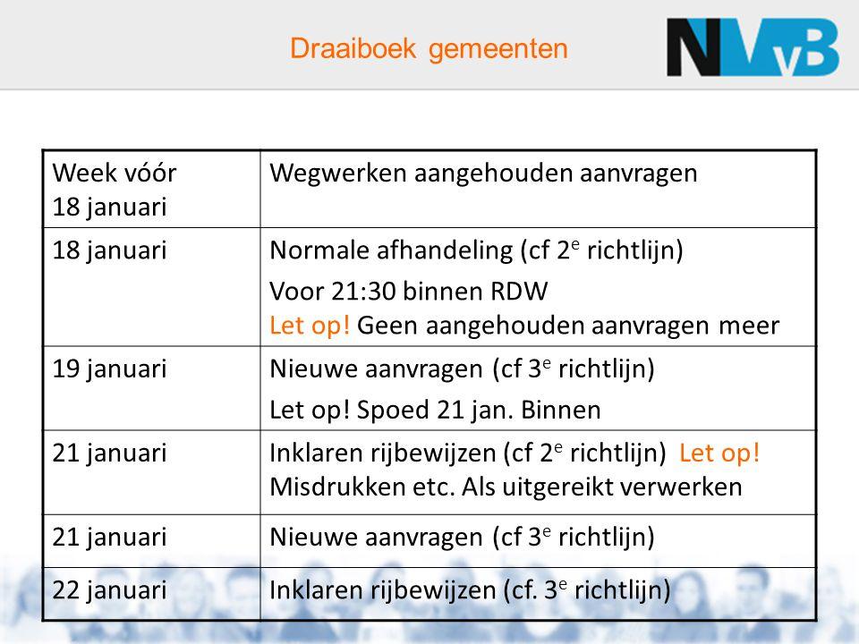 Draaiboek gemeenten Week vóór 18 januari Wegwerken aangehouden aanvragen 18 januariNormale afhandeling (cf 2 e richtlijn) Voor 21:30 binnen RDW Let op.