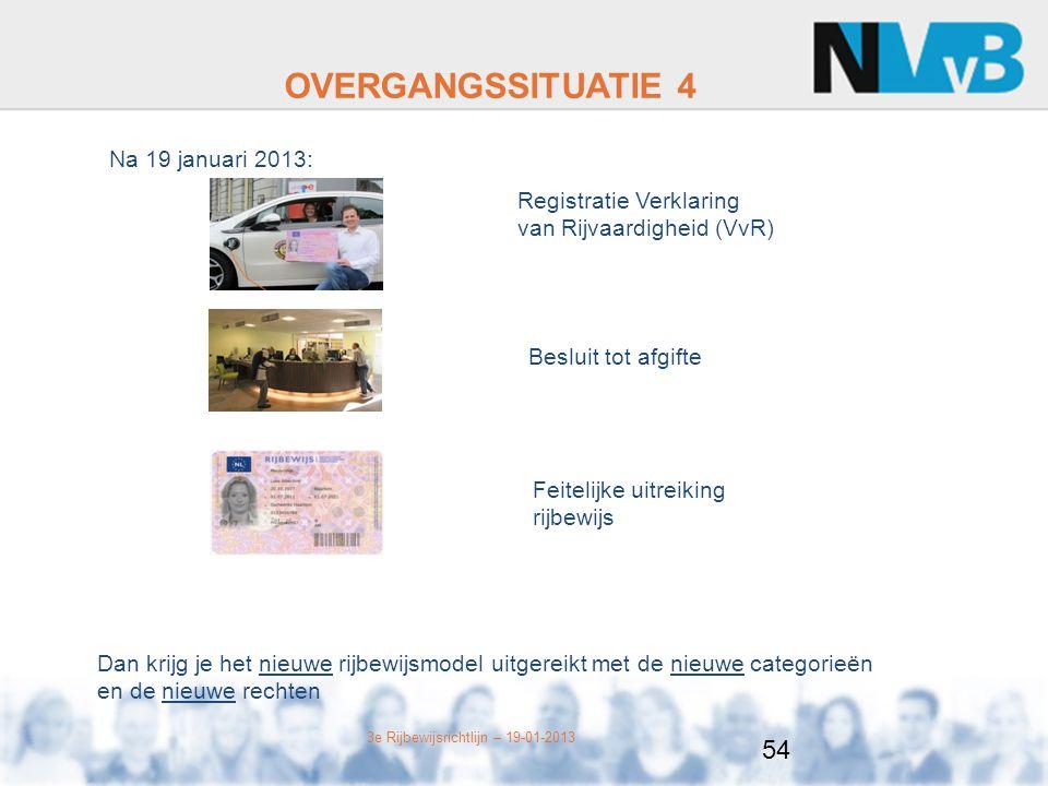 3e Rijbewijsrichtlijn – 19-01-2013 OVERGANGSSITUATIE 4 Na 19 januari 2013: Registratie Verklaring van Rijvaardigheid (VvR) Besluit tot afgifte Feitelijke uitreiking rijbewijs Dan krijg je het nieuwe rijbewijsmodel uitgereikt met de nieuwe categorieën en de nieuwe rechten 54