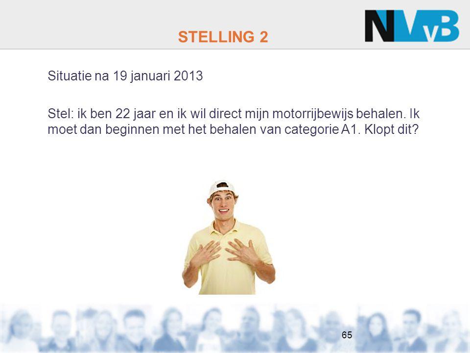 STELLING 2 Situatie na 19 januari 2013 Stel: ik ben 22 jaar en ik wil direct mijn motorrijbewijs behalen.