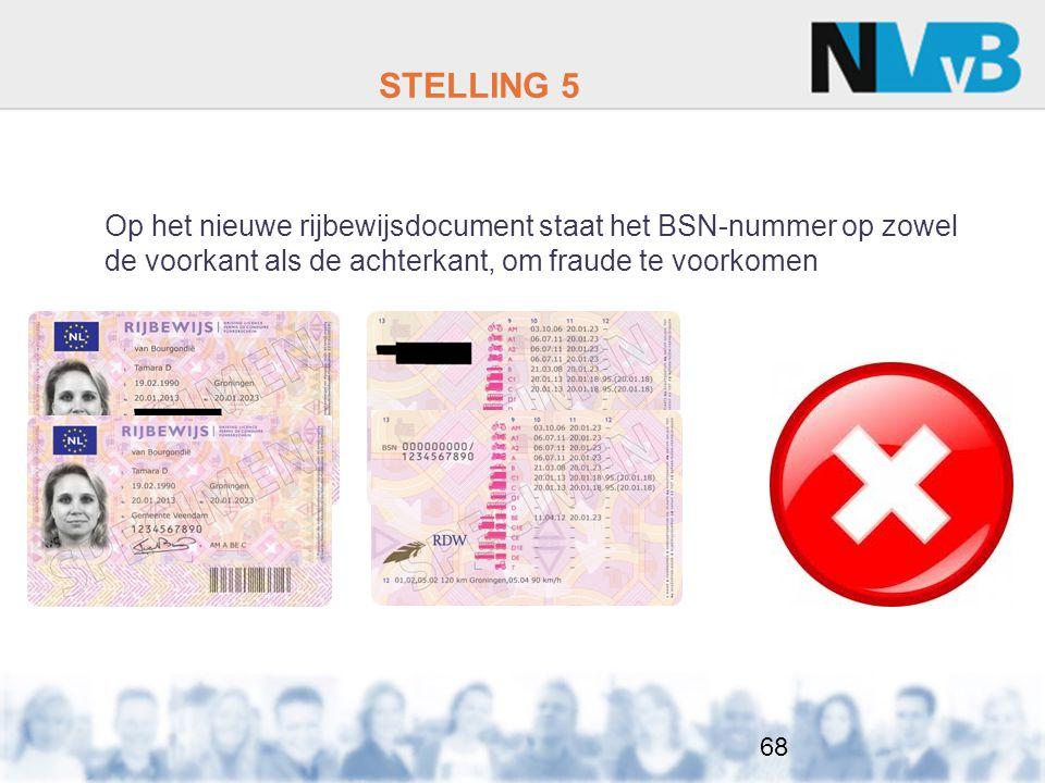 STELLING 5 Op het nieuwe rijbewijsdocument staat het BSN-nummer op zowel de voorkant als de achterkant, om fraude te voorkomen 68
