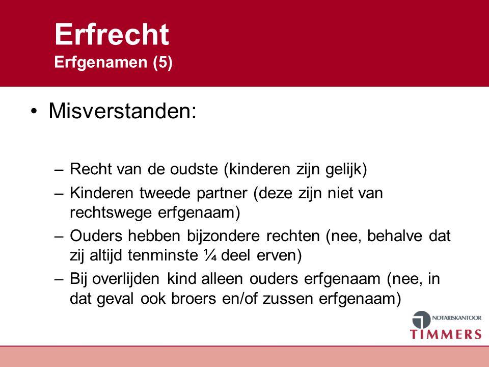 Erfrecht Erfgenamen (5) Misverstanden: –Recht van de oudste (kinderen zijn gelijk) –Kinderen tweede partner (deze zijn niet van rechtswege erfgenaam)