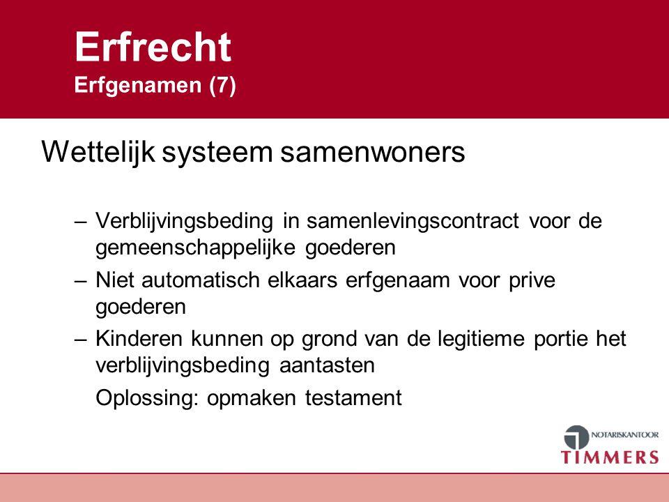 Erfrecht Erfgenamen (7) Wettelijk systeem samenwoners –Verblijvingsbeding in samenlevingscontract voor de gemeenschappelijke goederen –Niet automatisc