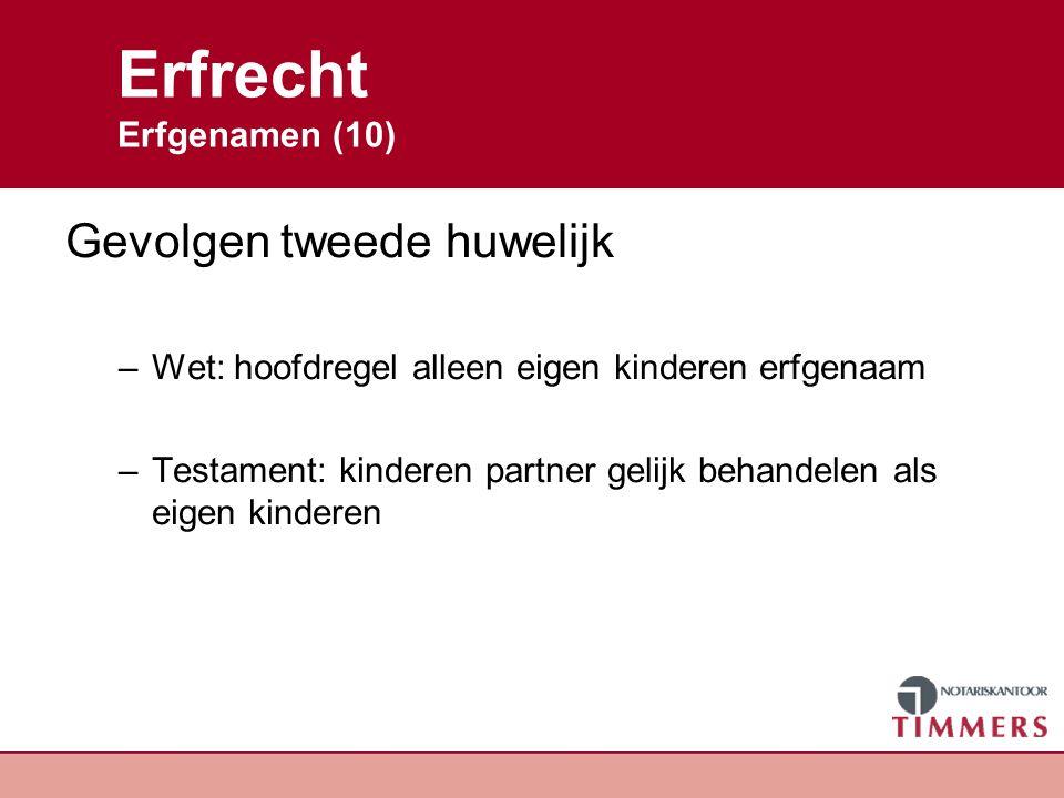 Erfrecht Erfgenamen (10) Gevolgen tweede huwelijk –Wet: hoofdregel alleen eigen kinderen erfgenaam –Testament: kinderen partner gelijk behandelen als