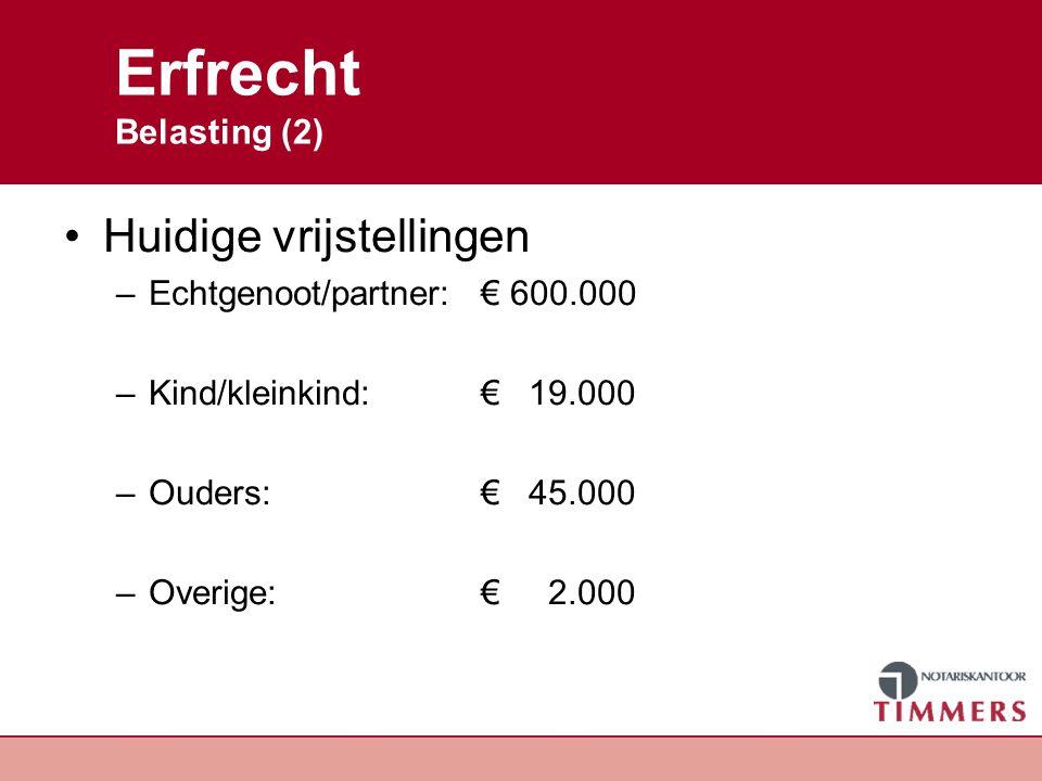 Erfrecht Belasting (2) Huidige vrijstellingen –Echtgenoot/partner: € 600.000 –Kind/kleinkind: € 19.000 –Ouders: € 45.000 –Overige: € 2.000