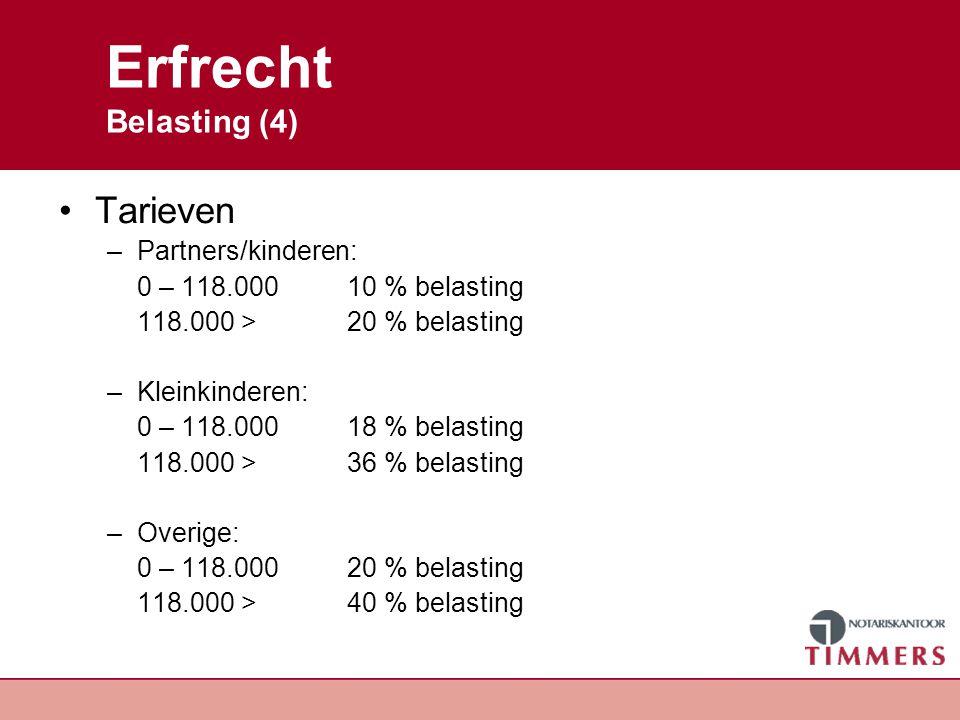 Erfrecht Belasting (4) Tarieven –Partners/kinderen: 0 – 118.00010 % belasting 118.000 >20 % belasting –Kleinkinderen: 0 – 118.00018 % belasting 118.00