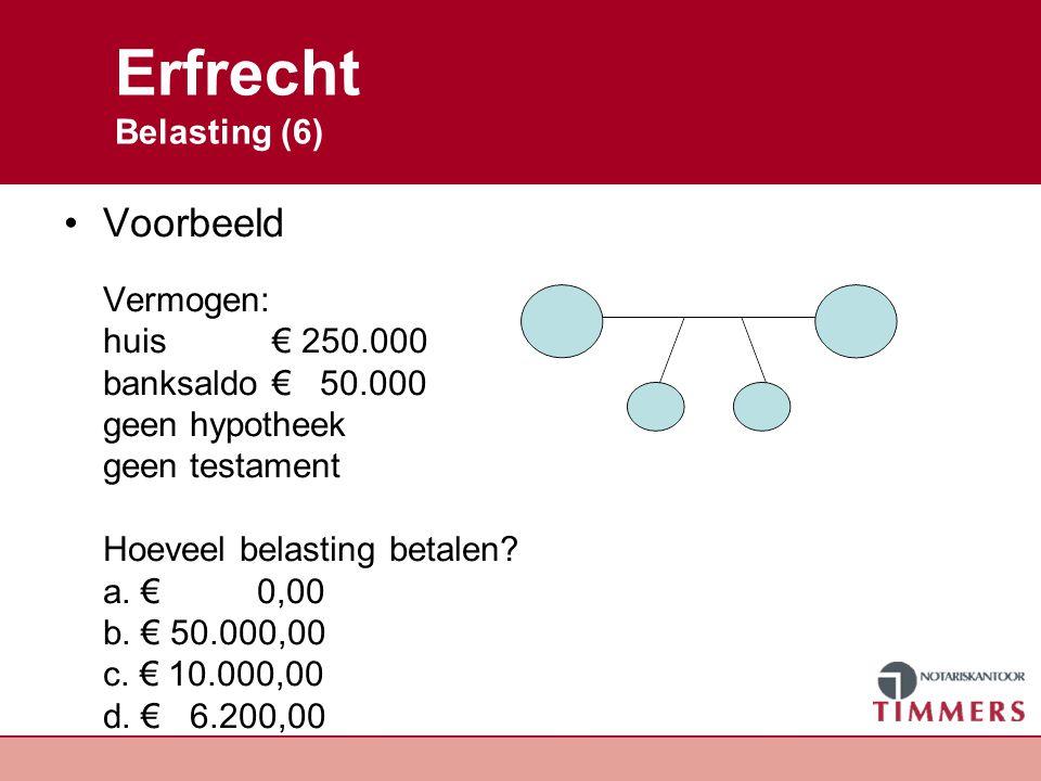 Erfrecht Belasting (6) Voorbeeld Vermogen: huis € 250.000 banksaldo € 50.000 geen hypotheek geen testament Hoeveel belasting betalen? a. € 0,00 b. € 5