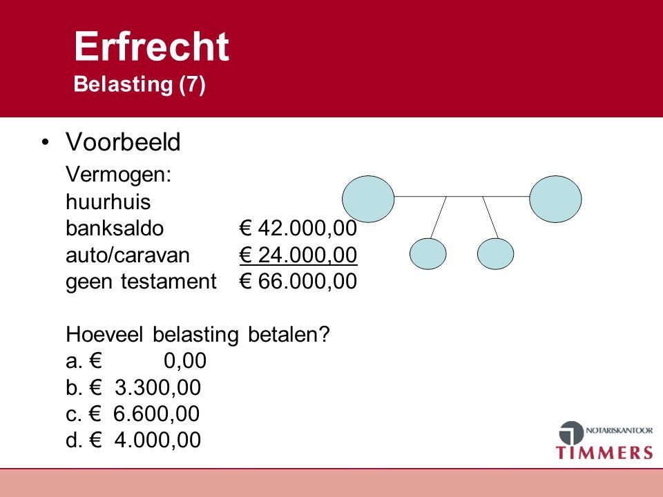 Erfrecht Belasting (7) Voorbeeld Vermogen: huurhuis banksaldo € 42.000,00 auto/caravan € 24.000,00 geen testament€ 66.000,00 Hoeveel belasting betalen